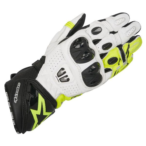 Alpinestars GP Pro R2 Leather Gloves - Black/White/Fluo
