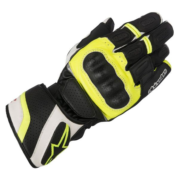 Alpinestars SP-Z Drystar Gloves - Black/White/Fluo Yellow