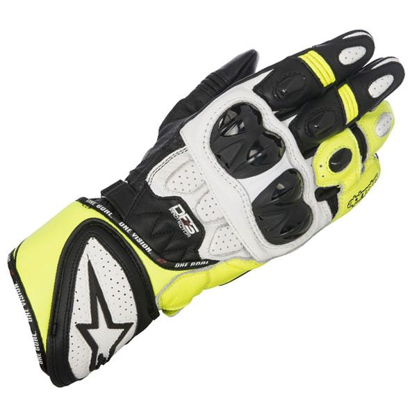 Alpinestars GP Plus R Leather Gloves - Black/White/Fluo Yellow