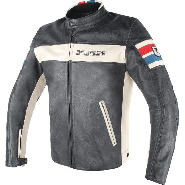Dainese HF D1 Leather Jacket - Black/Ice/Red/Blue