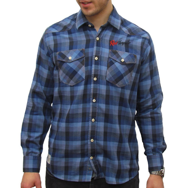 Red Torpedo V Twin Check Shirt - Blue