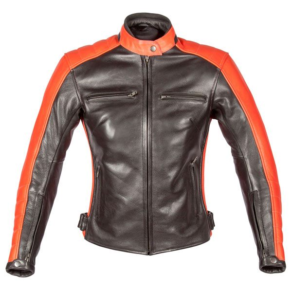 Spada Turismo Ladies Leather Jacket - Black/Autumn Sun