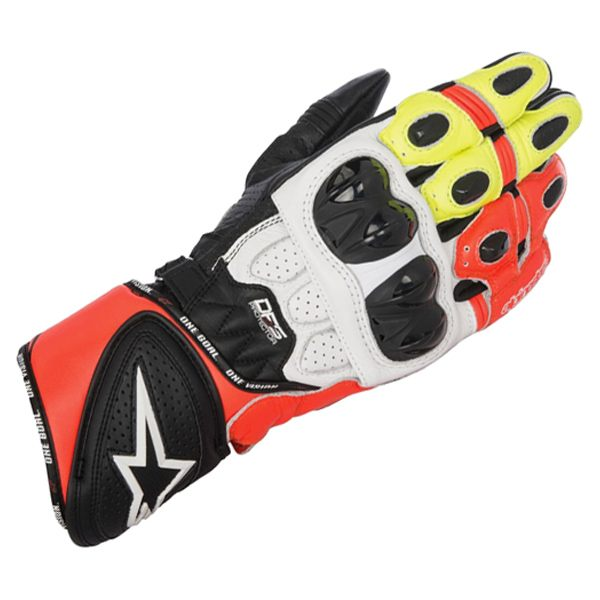 Alpinestars GP Plus R Gloves - Black/White/Red/Fluo Yellow