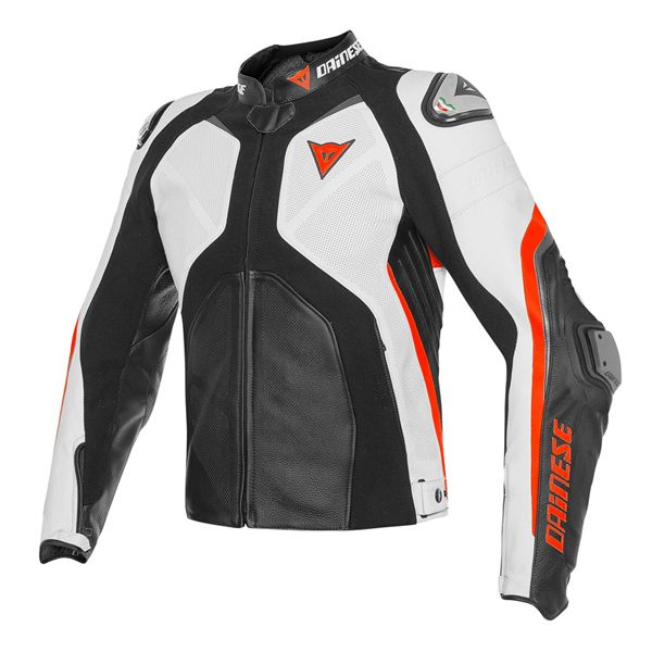 Dainese Super Rider Perforated Leather Jacket - Black/White/Fluo Red