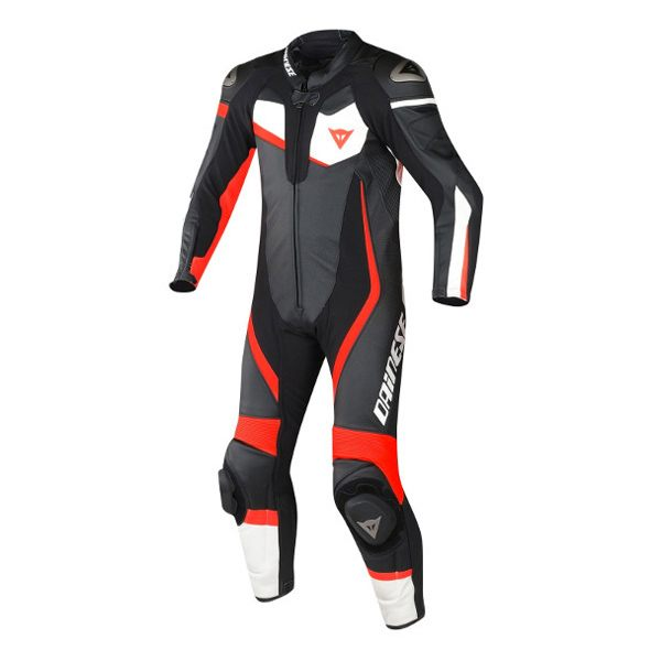Dainese Veloster Perforated 1 Piece Suit - Black/White/Fluo Red