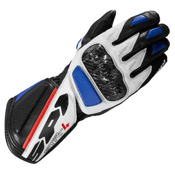 Spidi STR-4 Leather Gloves - Black/Blue/Red