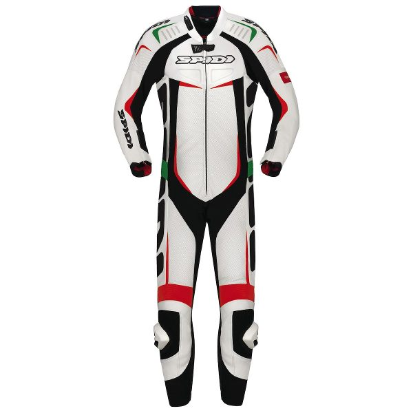 Spidi Track Wind Pro Leather Suit- White Italy Stripes -