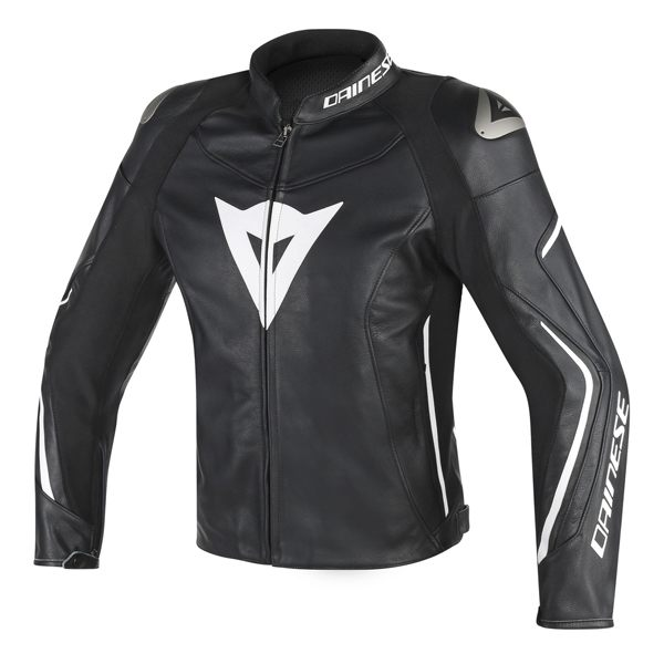 Dainese Assen Leather Jacket - Black/Black/White