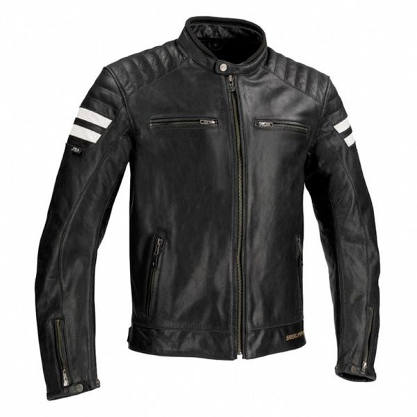 Segura Stripe Leather Jacket - Black/White