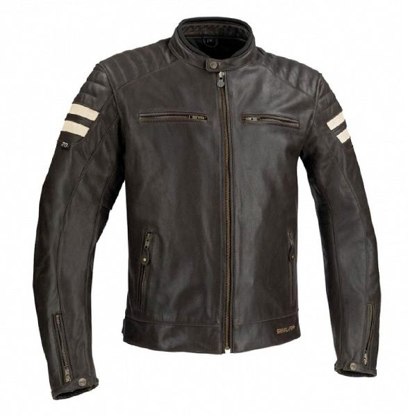 Segura Stripe Leather Jacket - Dark Brown/Beige