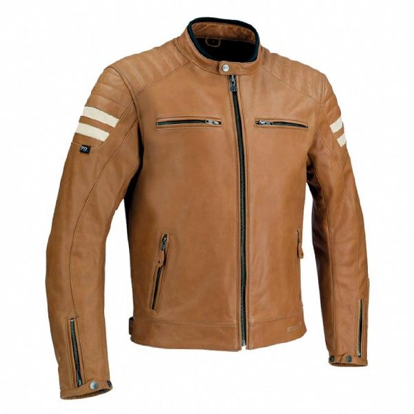 Segura Stripe Leather Jacket - Camel/Beige
