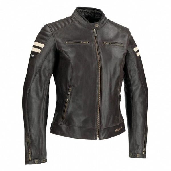 Segura Stripe Ladies Leather Jacket - Dark Brown/Beige