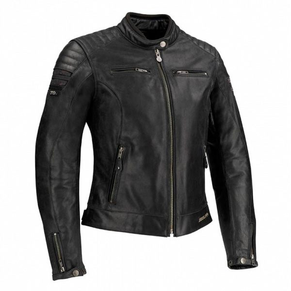 Segura Stripe Ladies Leather Jacket - Black/Silver Sequins