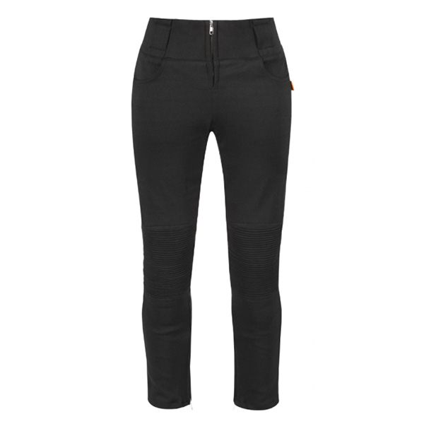 MotoGirl Moto Leggings Ladies Ribs Zip - Black