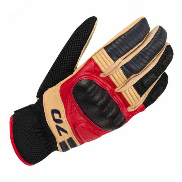 Segura Melbourne Leather Gloves - Brown/Red/Blue