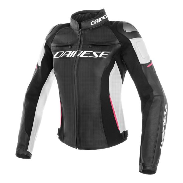 Dainese Racing 3 Perforated Ladies Leather Jacket - Black/White/Fuchsia