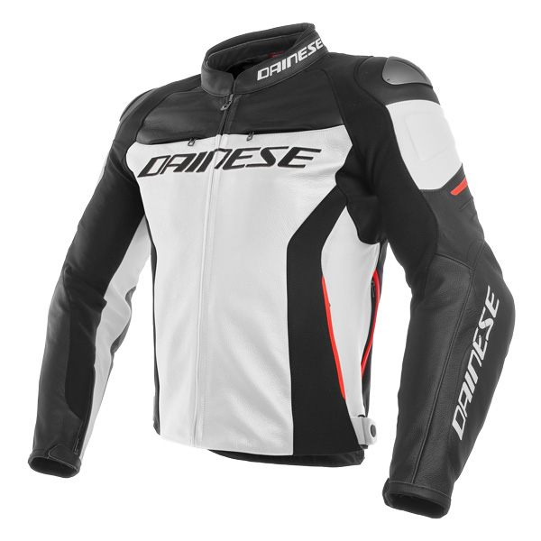 Dainese Racing 3 Leather Jacket - White/Black/Red