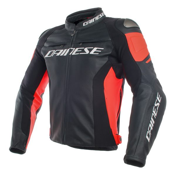 Dainese Racing 3 Leather Jacket - Black/Fluo Red