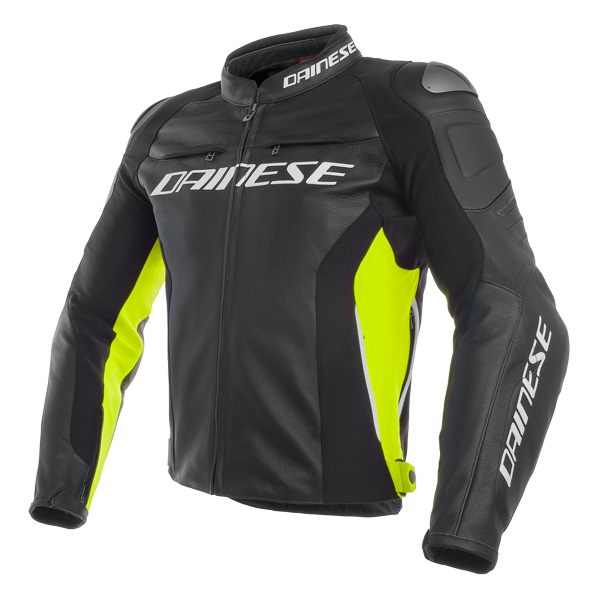 Dainese Racing 3 Leather Jacket - Black/Fluo Yellow