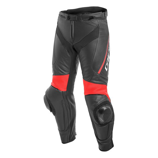 Dainese Delta 3 Leather Jeans - Black/Fluo Red
