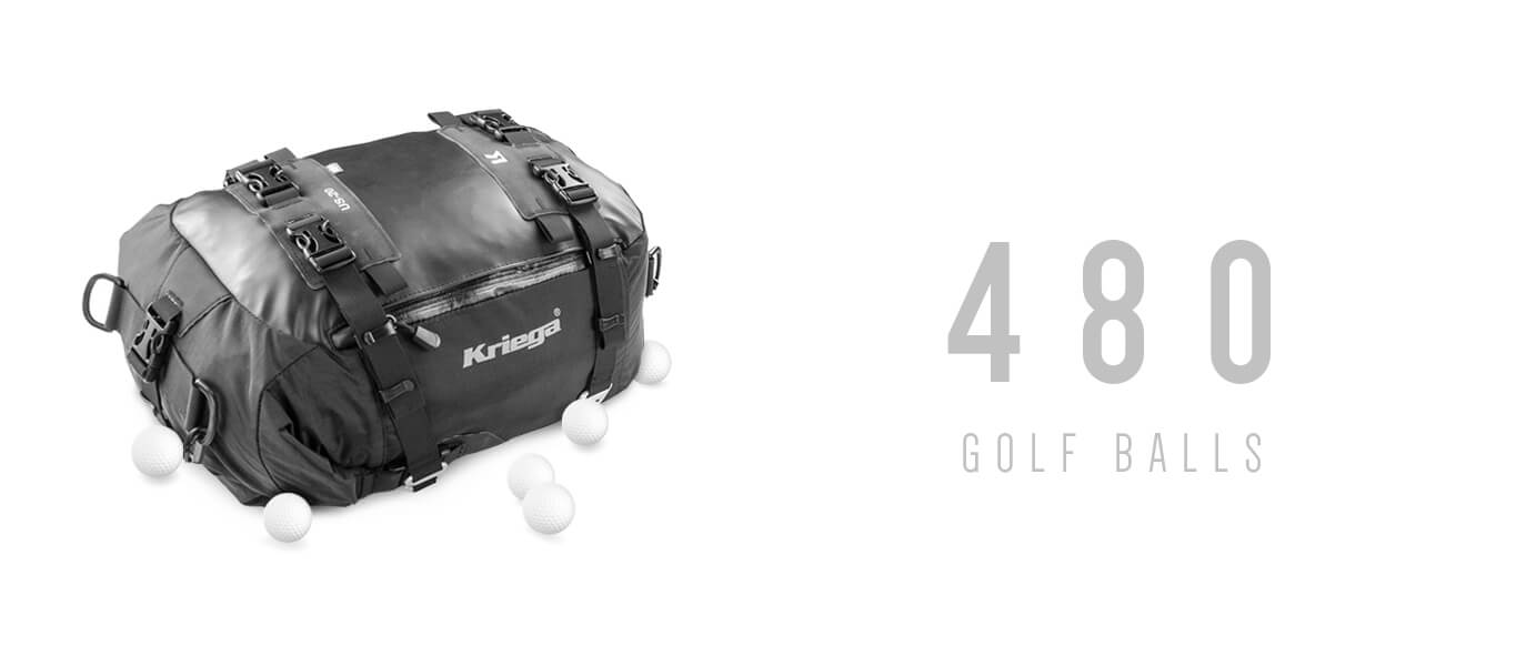 480 golf balls can fit in a Kriega US20 Drybag
