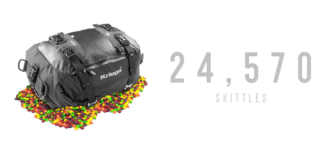24,570 skittles can fit in a Kriega US20 Drybag