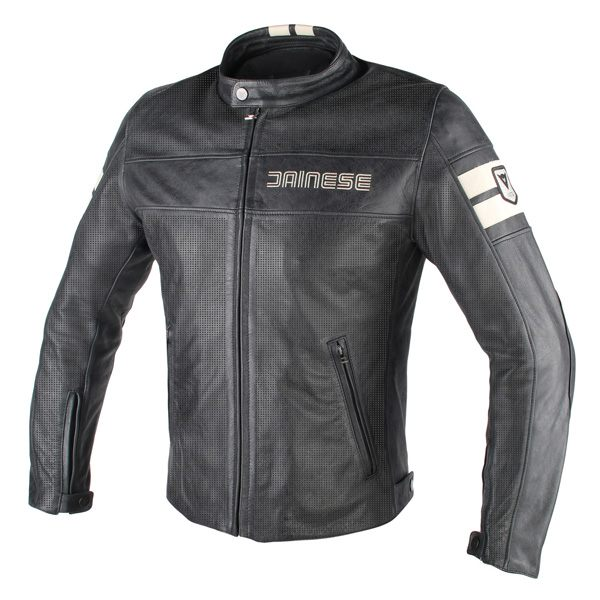 Dainese HF D1 Perforated Leather Jacket - Black/Ice