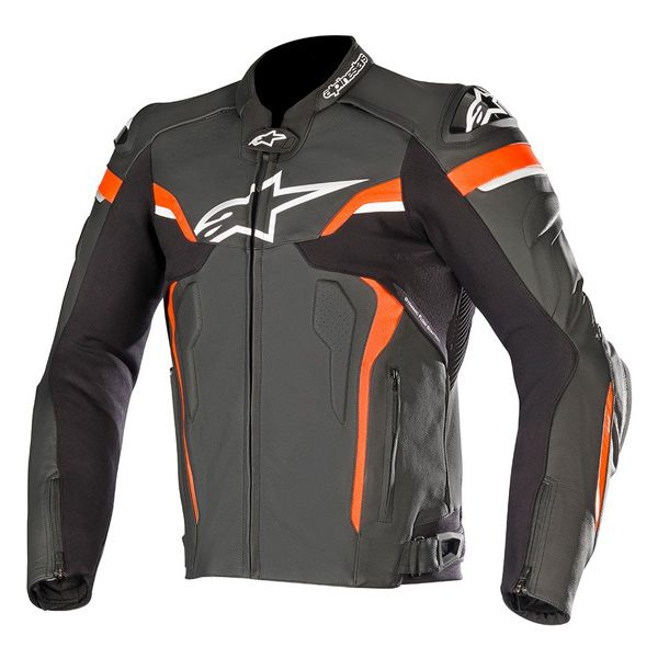 Alpinestars Celer V2 Leather Mens Jacket - Black/White/Red Fluo