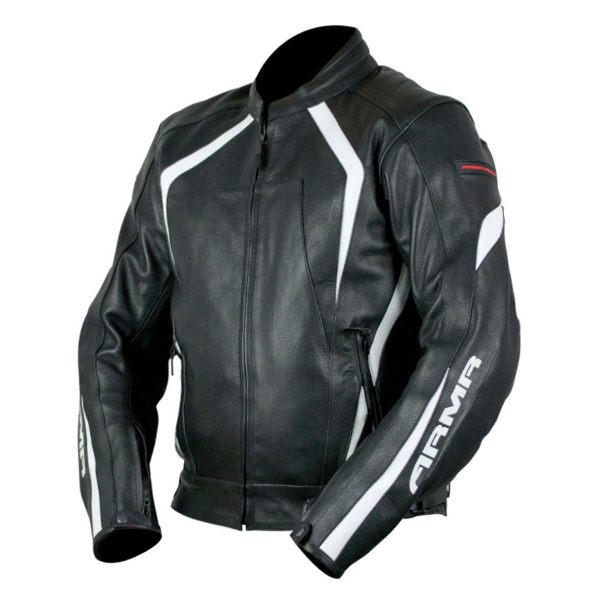 ARMR Moto Katana Leather Jacket - Black/White