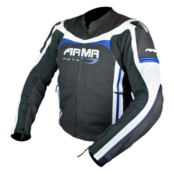 ARMR Moto Raiden Leather Jacket - Black/Blue/White