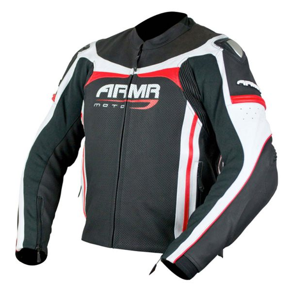 ARMR Moto Raiden Leather Jacket - Black/Red/White