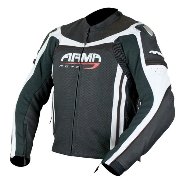 ARMR Moto Raiden Leather Jacket - Black/White