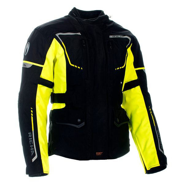 Richa Phantom 2 Waterproof Jacket - Black/Fluo Yellow