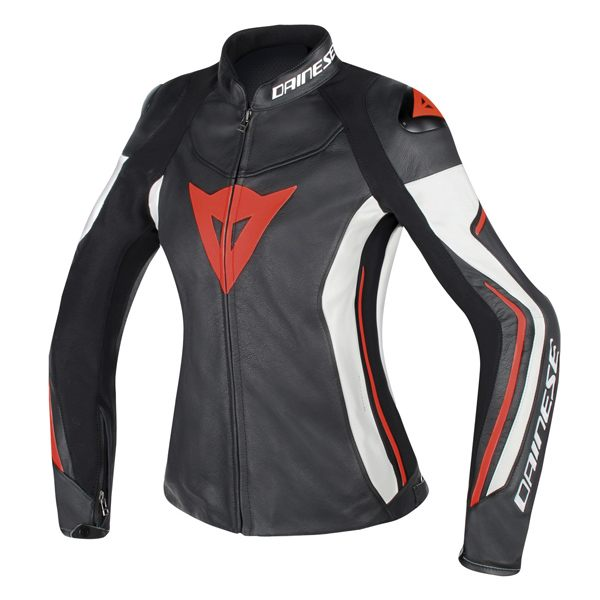 Dainese Assen Ladies Leather Jacket - Black/White/Fluorescent Red
