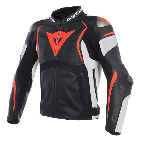 Dainese Mugello Leather Jacket - Black/White/Fluo Red