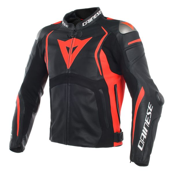 Dainese Mugello Leather Jacket - Black/Fluo Red