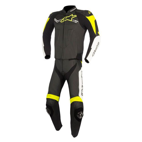 Alpinestars Challenger V2 2Pc Leather Suit - Black/White/Fluo Yellow
