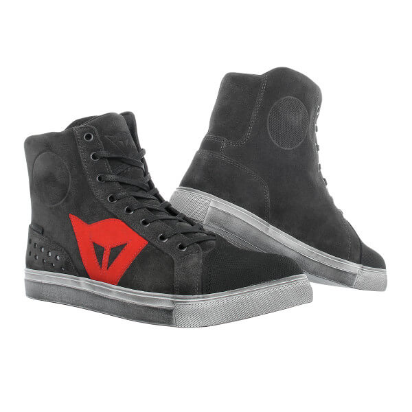 Dainese Street Biker D-WP Shoes - Carbon Dark/Red