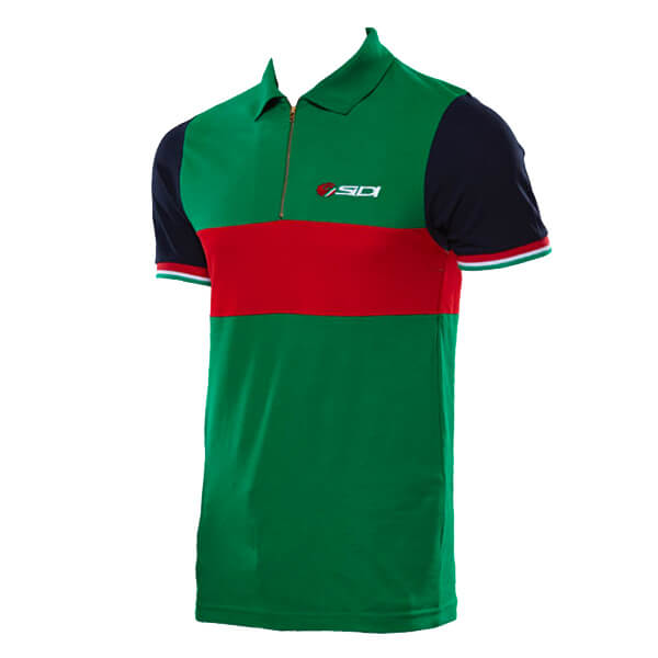 Sidi Casuals Polo Shirt Zipper Neck - Green/Red