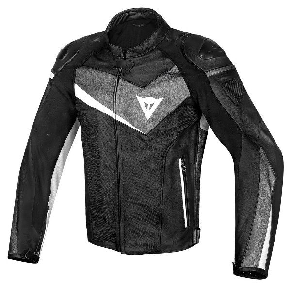 Dainese Veloster Leather Jacket - Black/Anthracite/White