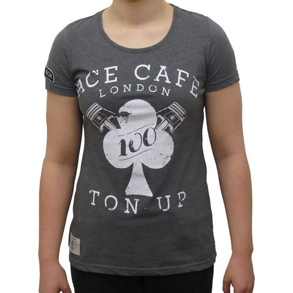 Red Torpedo Ace Cafe Rocker Ton Up T-Shirt Ladies - Black
