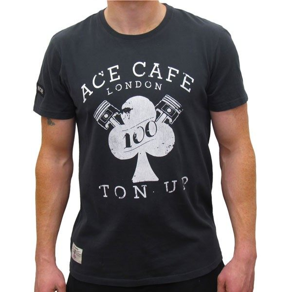Red Torpedo Ace Cafe Rocker Ton Up T-Shirt Mens - Black