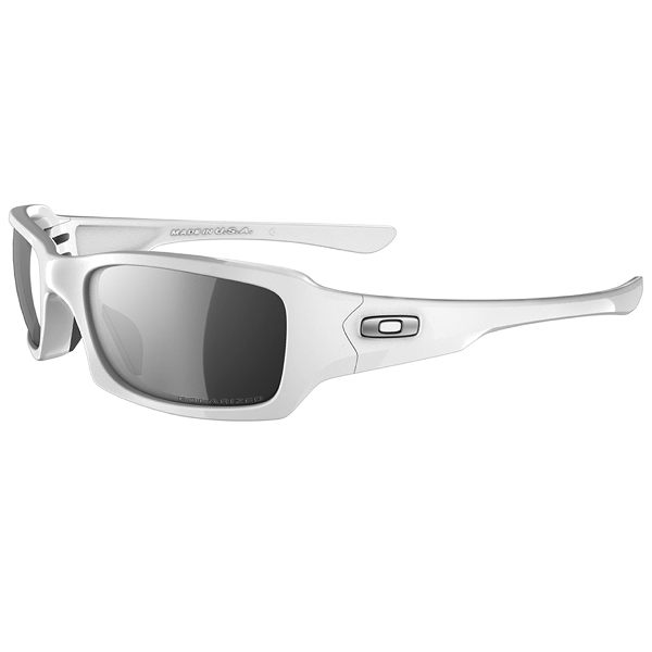 Oakley Fives Squared Sunglasses - White/Black Iridium Polarized
