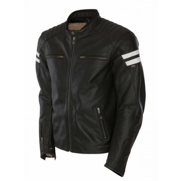 Segura Retro Leather Jacket - Black/White