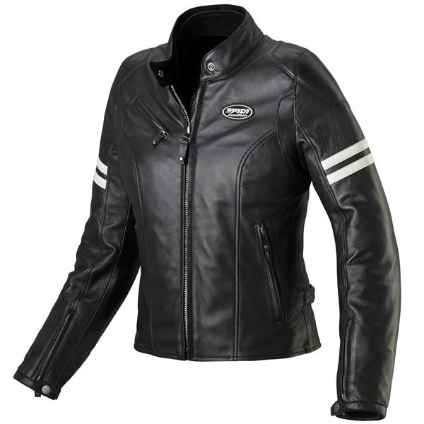 Spidi Ace Ladies Leather Jacket - Black/Ice White