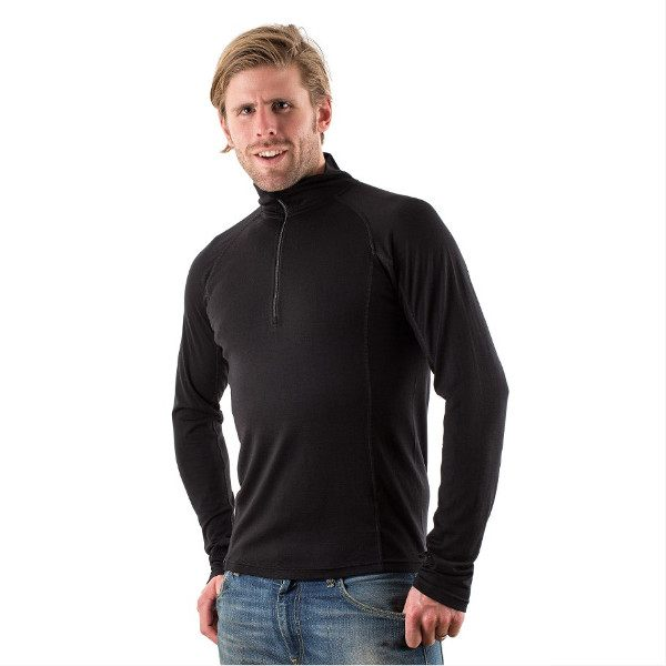 EDZ 200g Merino Long Sleeve Zip Neck Top Mens - Black
