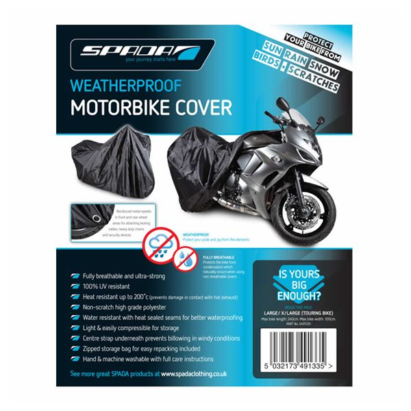 Spada Motorcycle Cover Large/XL Touring Bikes No Luggage