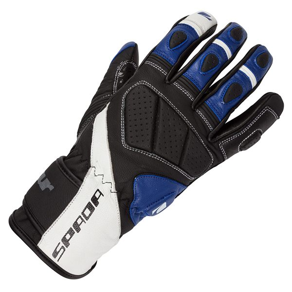 Spada Burnout Leather Gloves - Black/White/Blue