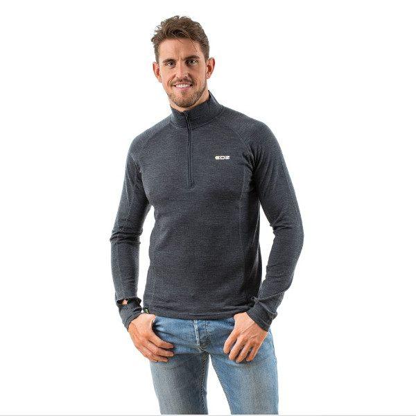 bdd5882beb0e93 EDZ Merino Wool Zip Neck Thermal Base Layer Long Sleeve Top - Graphite