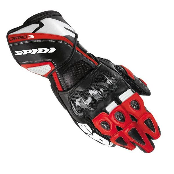Spidi Carbo 3 Leather Gloves - Black/Red